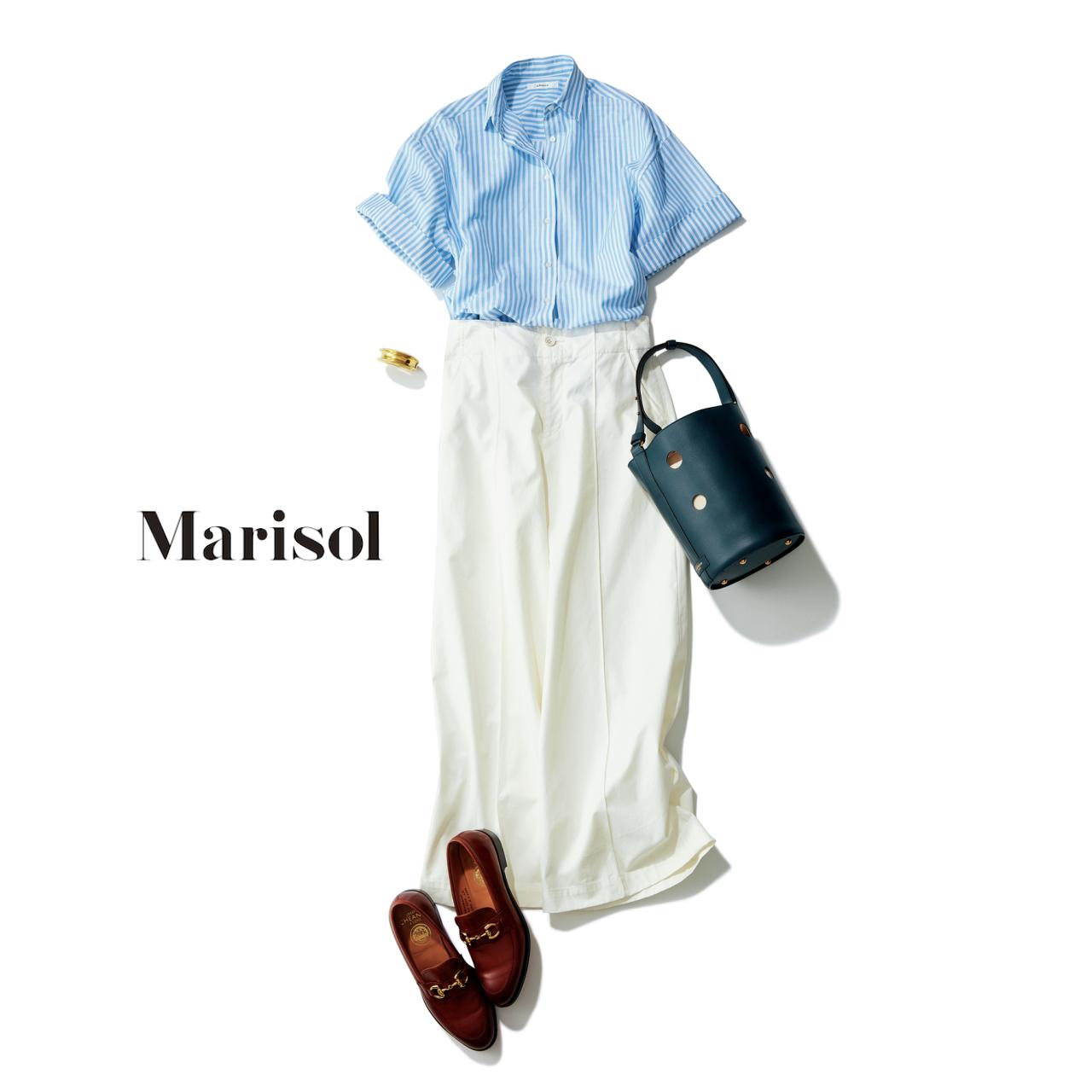 ストライプシャツ×白パンツコーデ