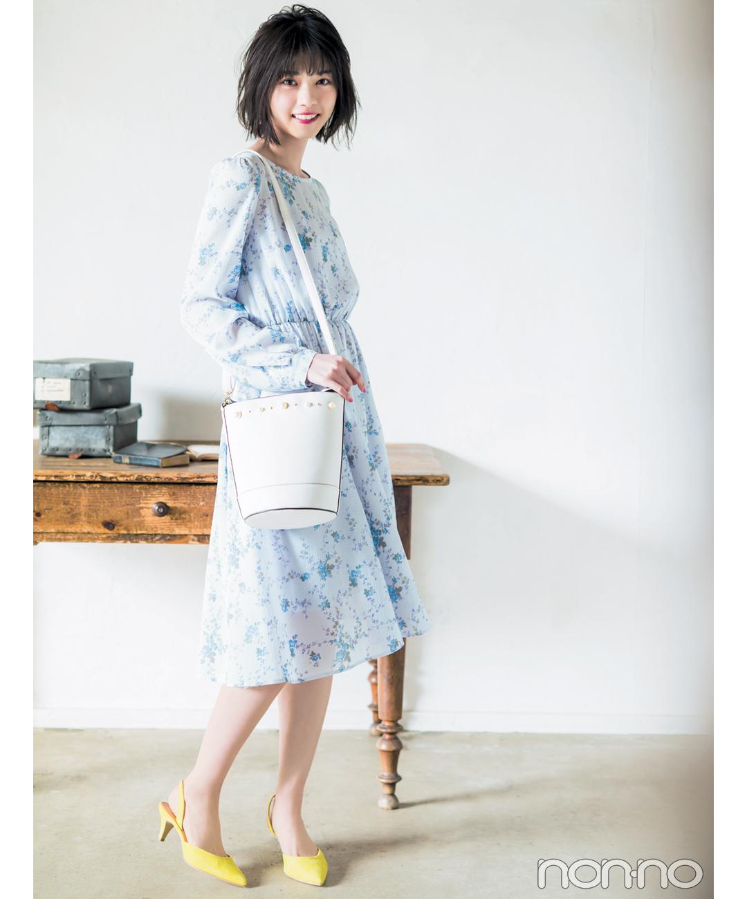 【夏のワンピースコーデ】西野七瀬のレトロ可愛いディテールで差がつく1着で大人っぽコーデ