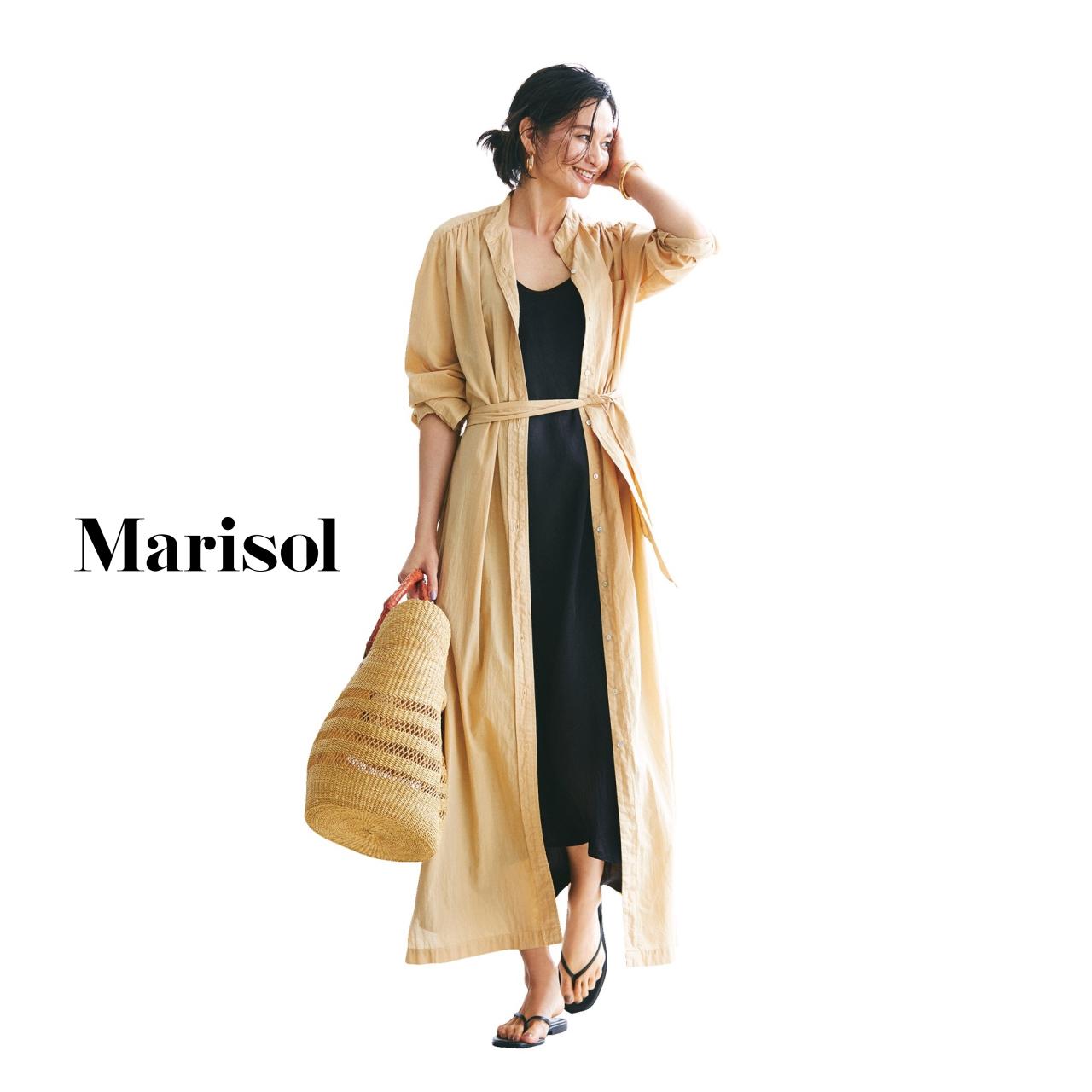 40代ファッション シャツワンピース×キャミワンピースコーデ