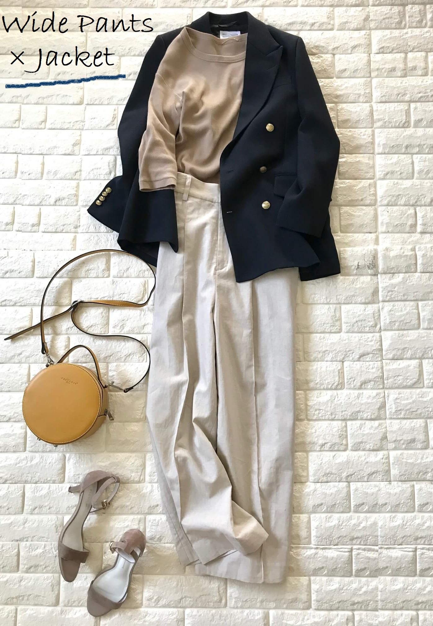 AG by aquagirl のリネンパンツとネイビーのジャケットを合わせたコーデ