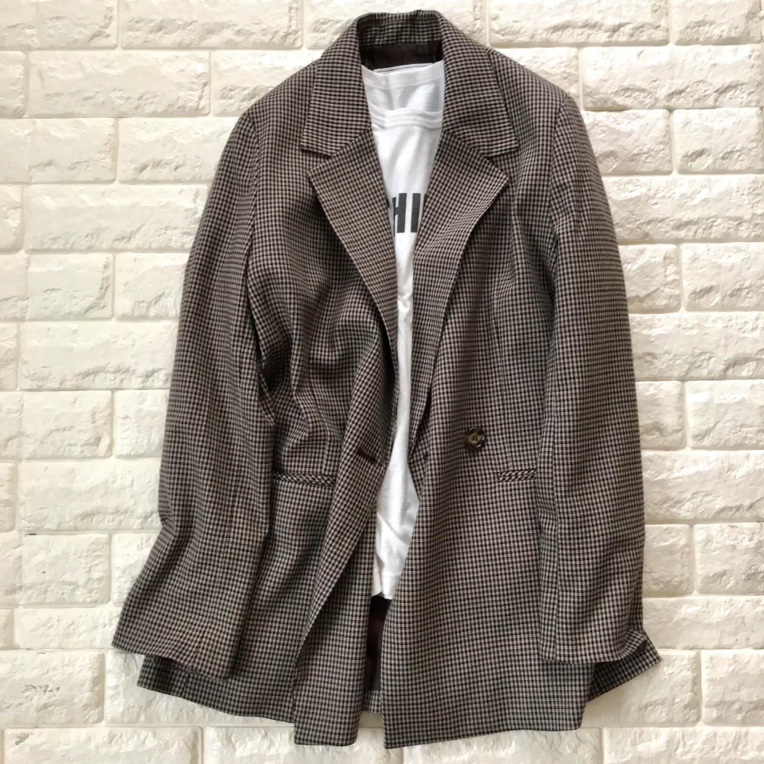 ロペピクニックのチェック柄テーラードジャケット×Tシャツ