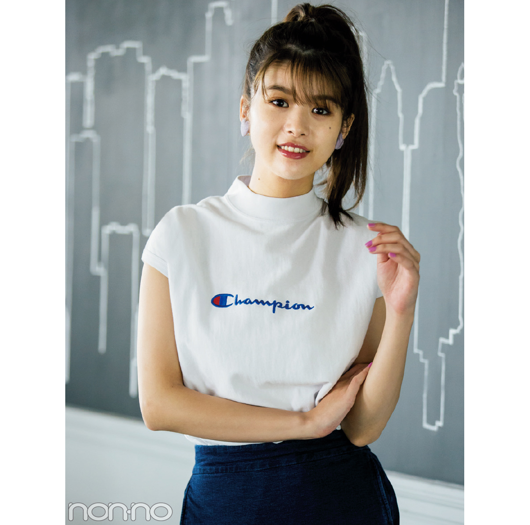 すっきり見えて今っぽい! ノースリーブのロゴTシャツ4選_1_2-2