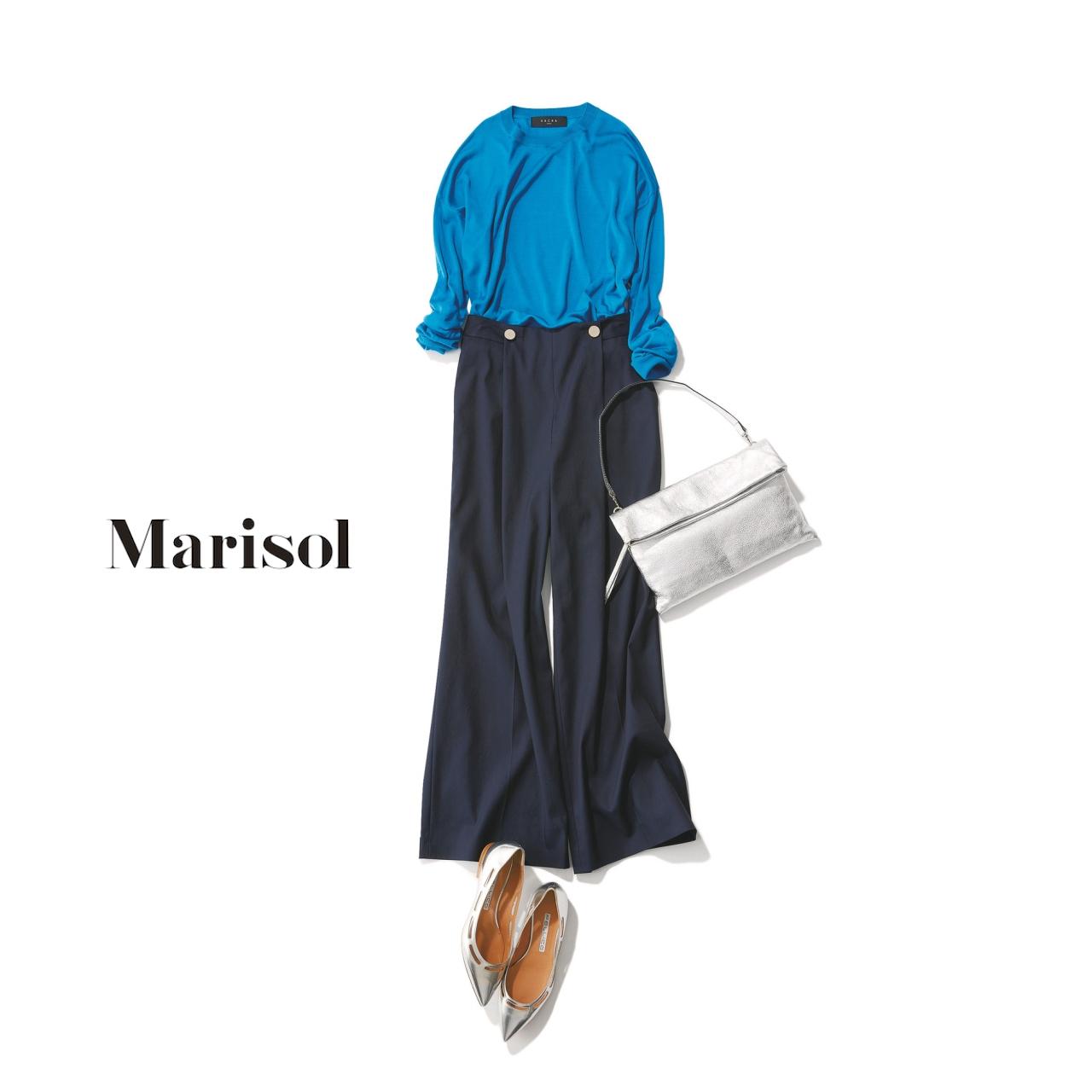 40代ファッション シルクプルオーバー×ワイドパンツコーデ