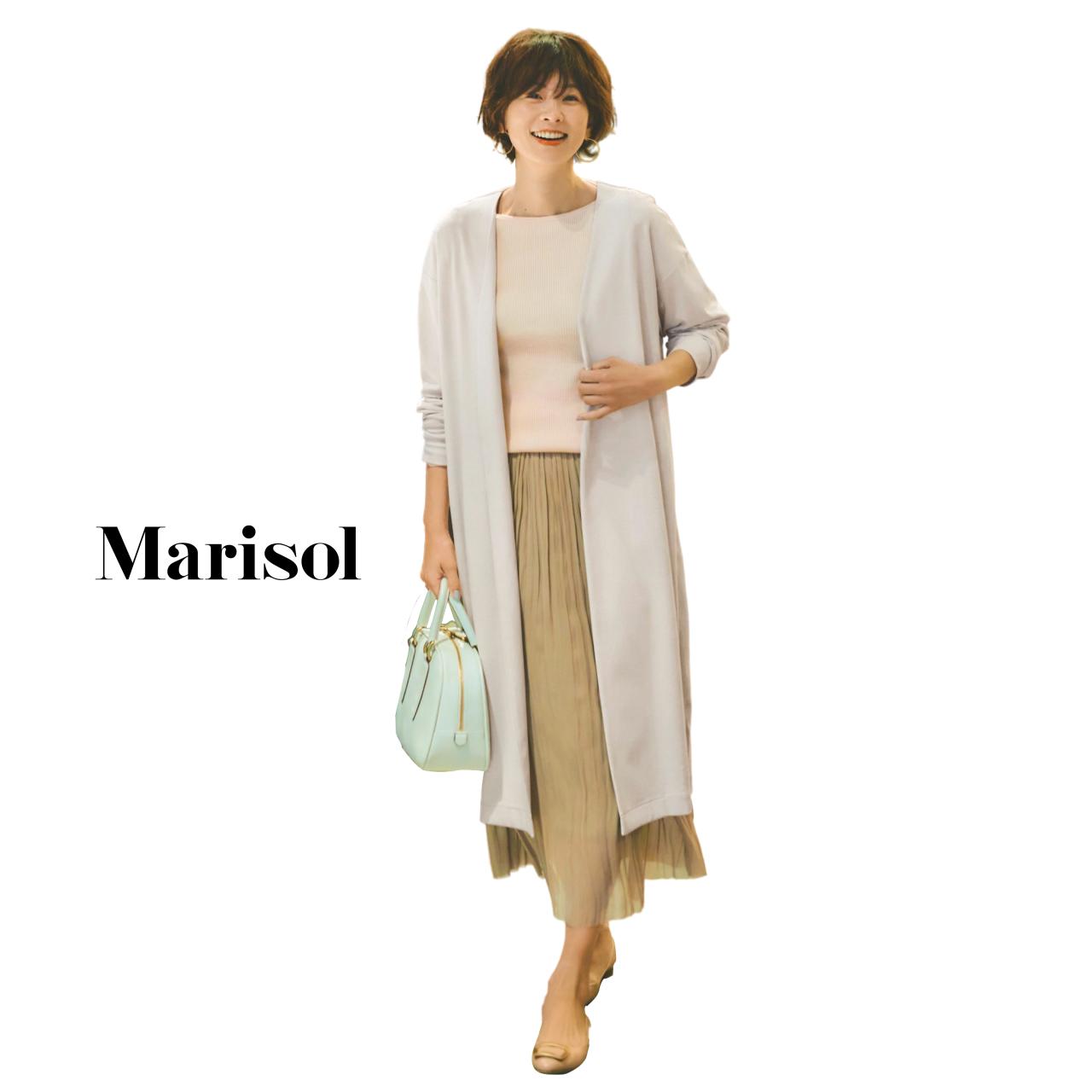 40代ファッション ニット×スカート×ロングカーディガンコーデ
