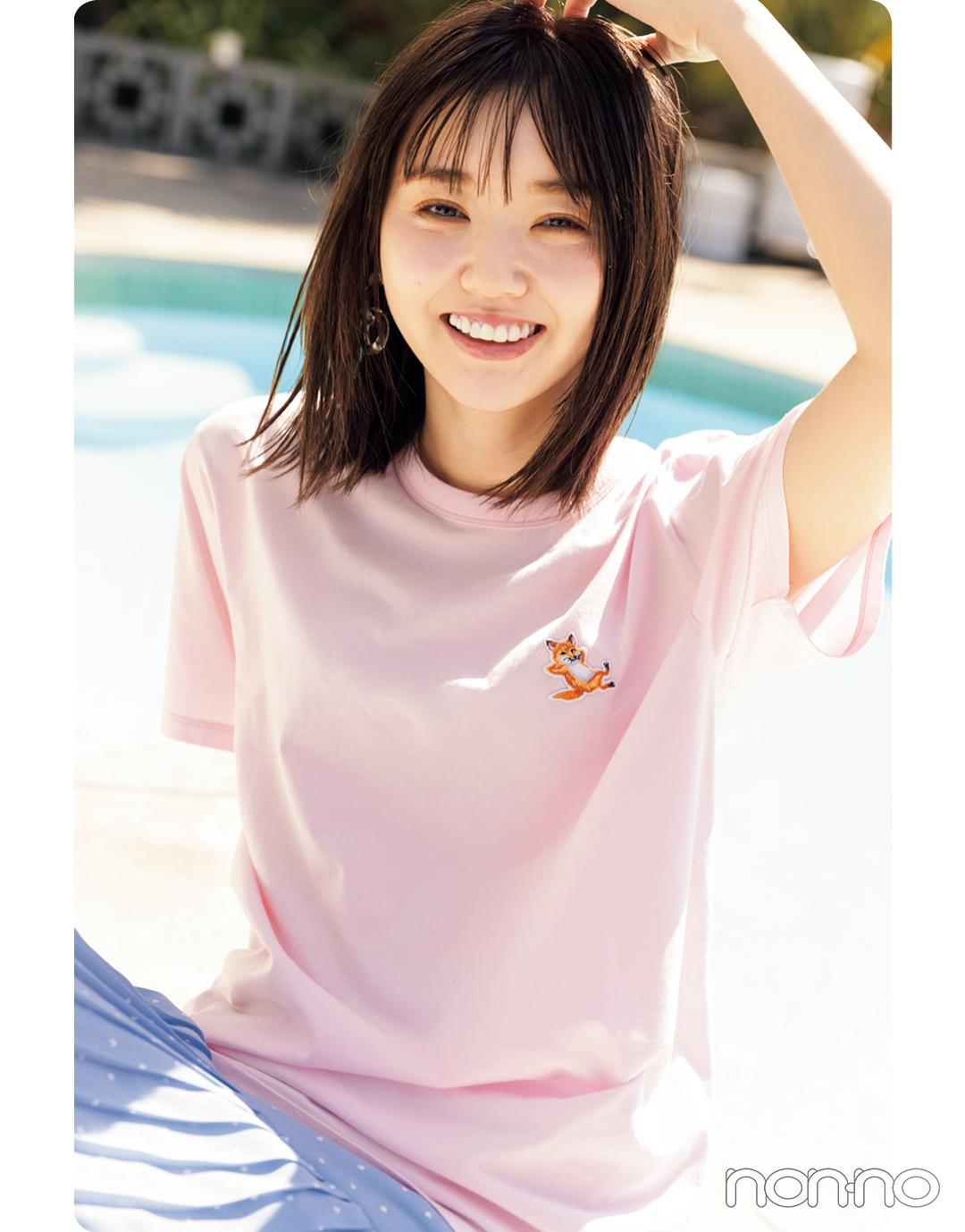 江野沢愛美が着るMaison KitsuneのTシャツコーデ1