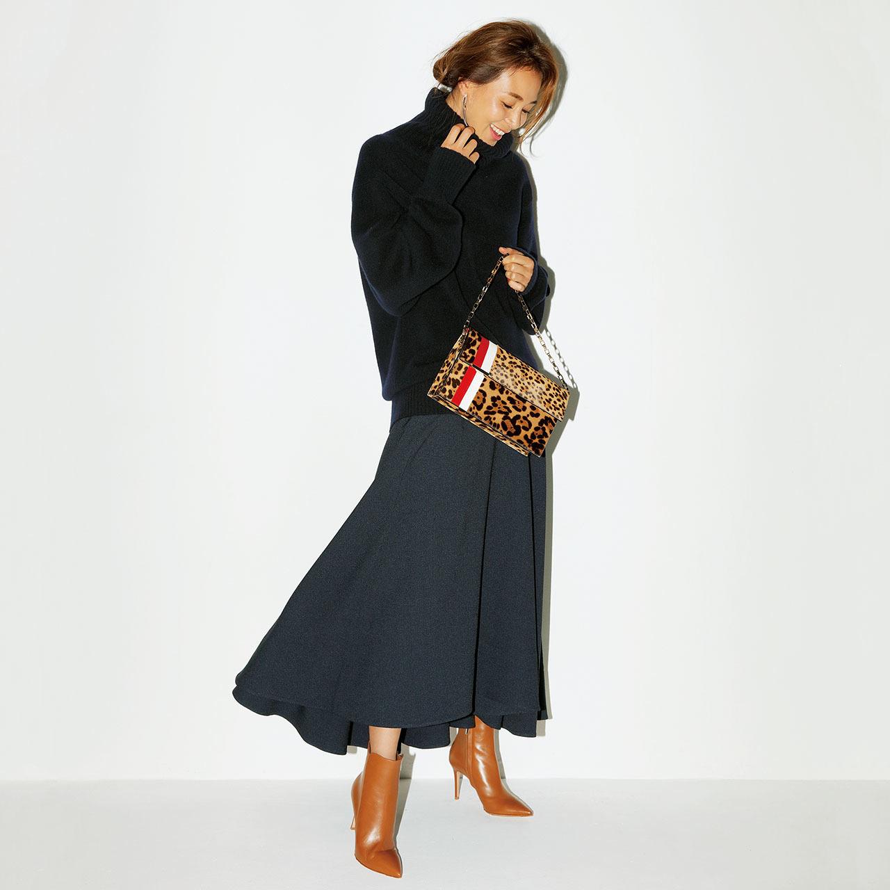 ニット×ロングスカート×ブーツコーデを着たSHIHOさん