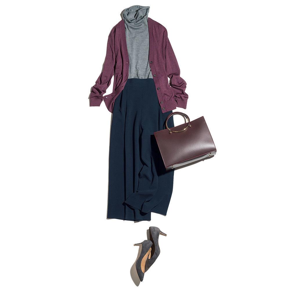ハイゲージニット×ガウチョパンツのファッションコーデ