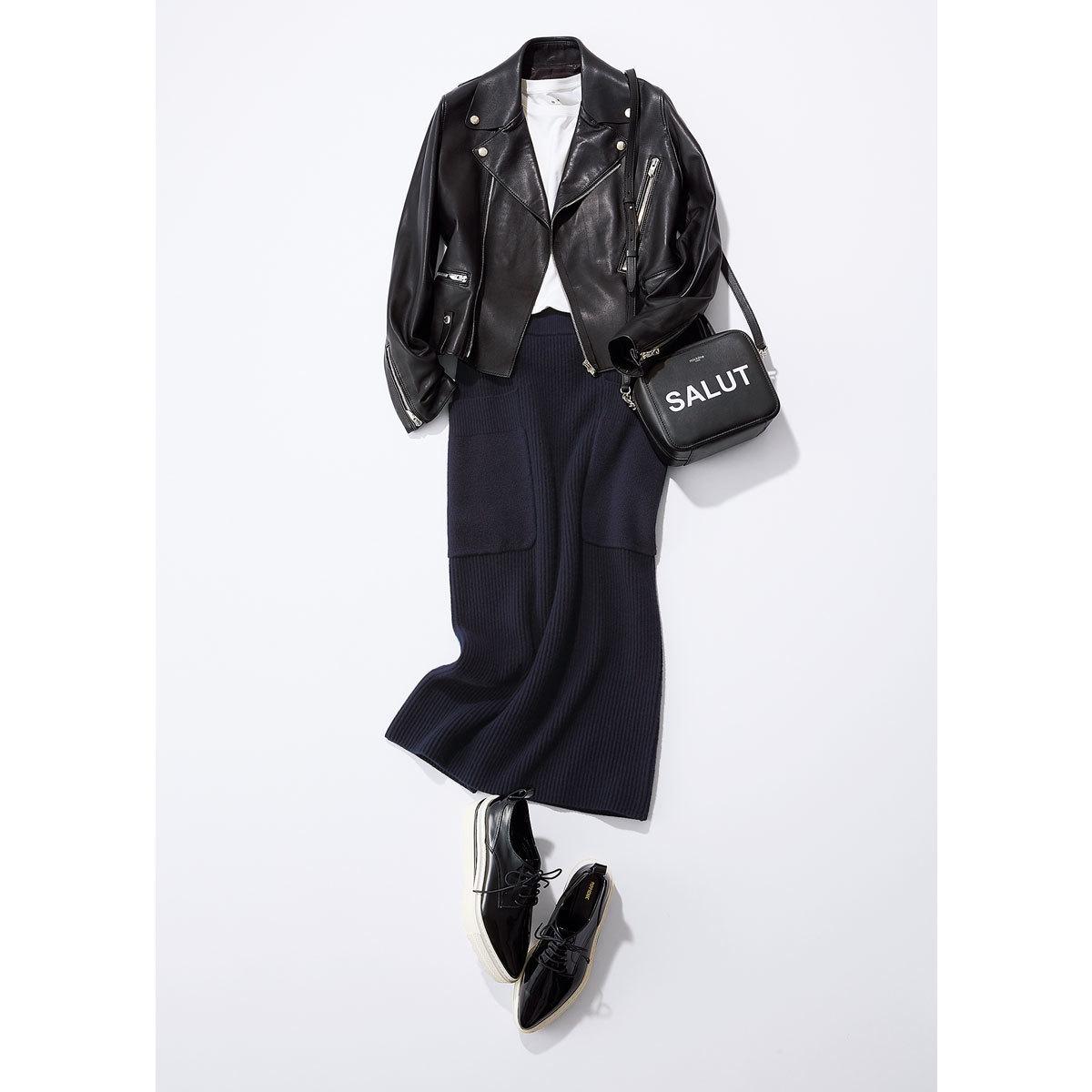 ライダースジャケット×ニットのタイトスカートコーデ
