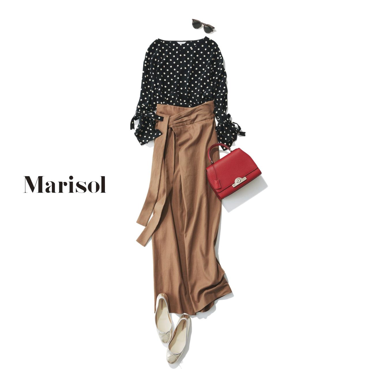 40代ファッション ドットブラウス×リネンパンツコーデ