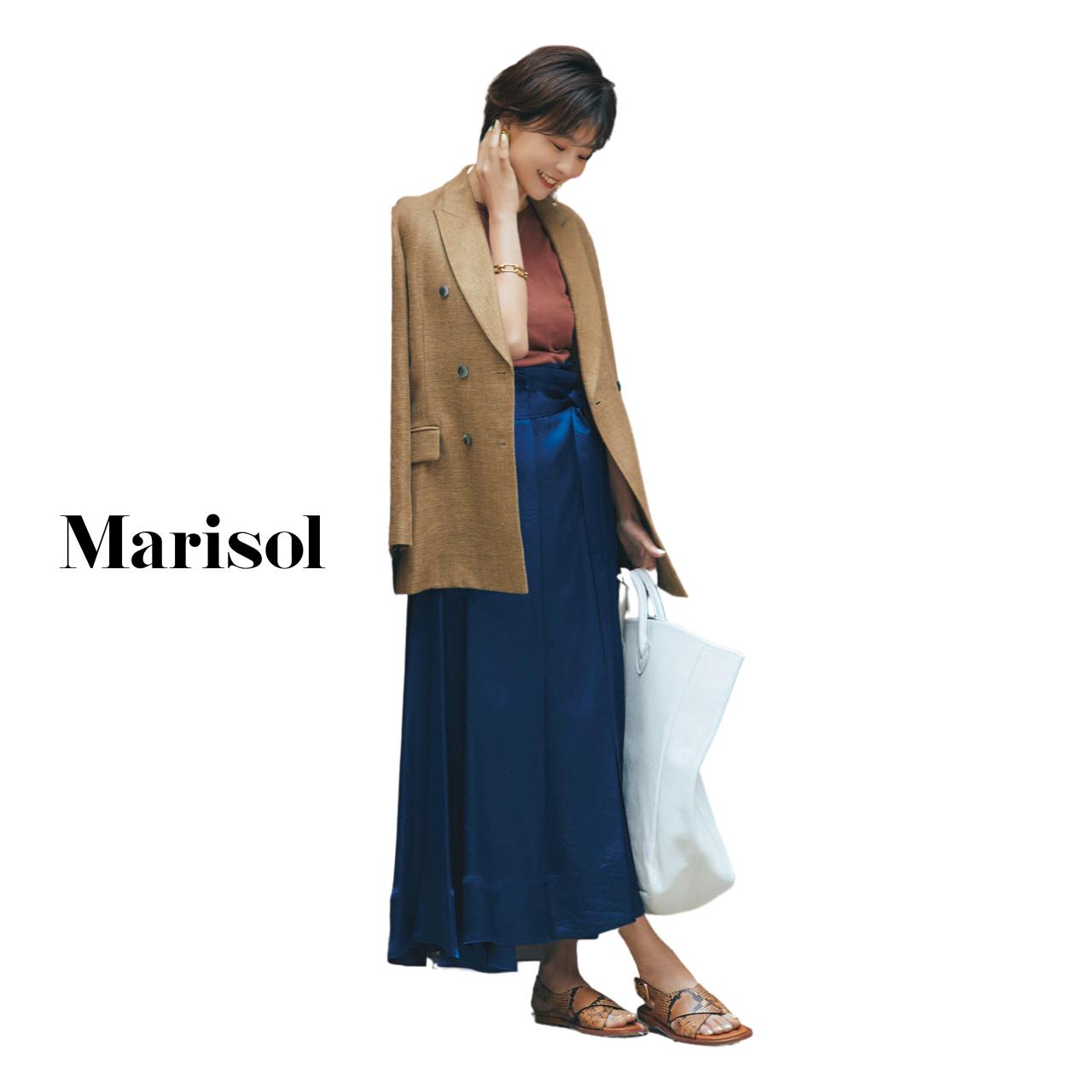 40代ファッション リネンジャケット×ロングスカートコーデ