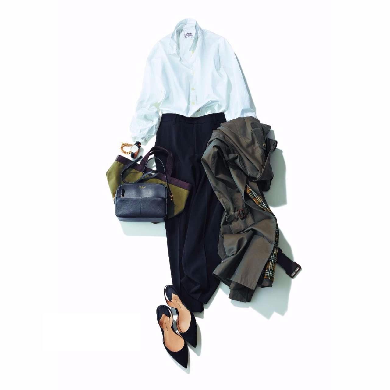 ブラウス×黒パンツのファッションコーデ