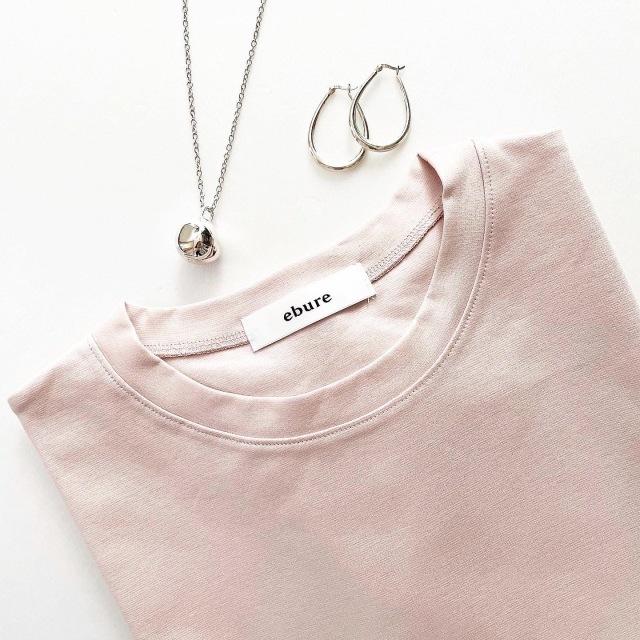 ebure(エブール) 超長綿スーピマコットン クルーネックTシャツ ピンク