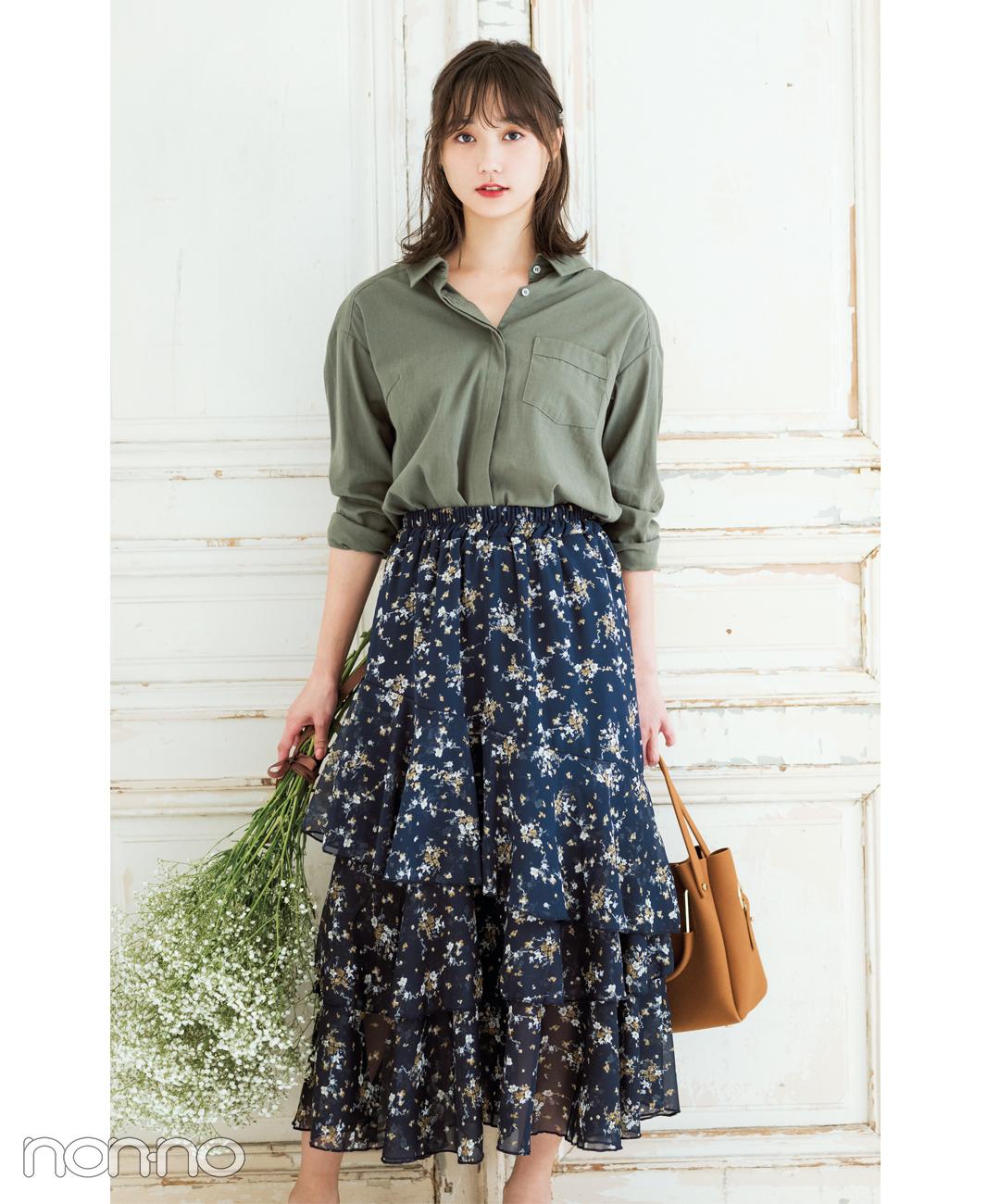 【2018秋冬スカートコーデ】ロングスカート×カーキシャツ