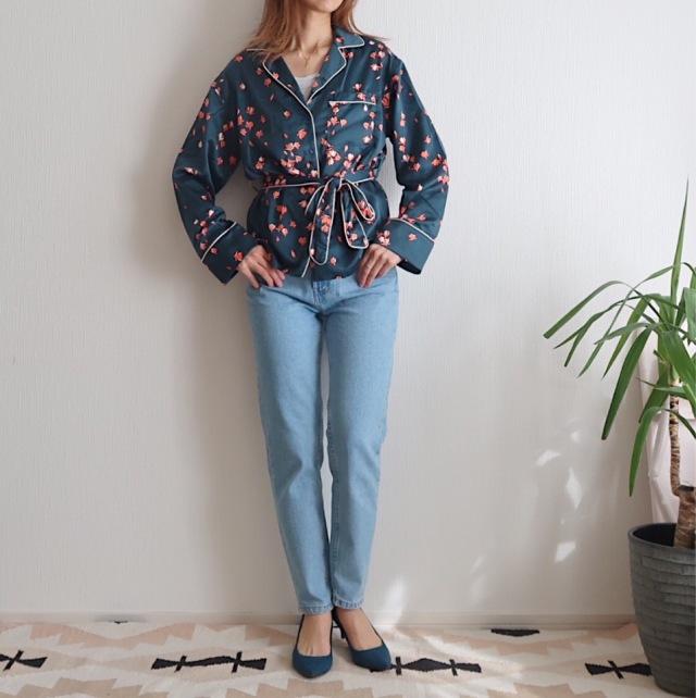 キャリー気分の一点投入服!H&Mパジャマ風サテンシャツで春はじめ_1_1