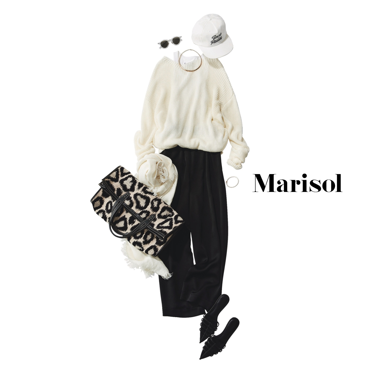 40代ファッション  白ニット×黒パンツコーデ
