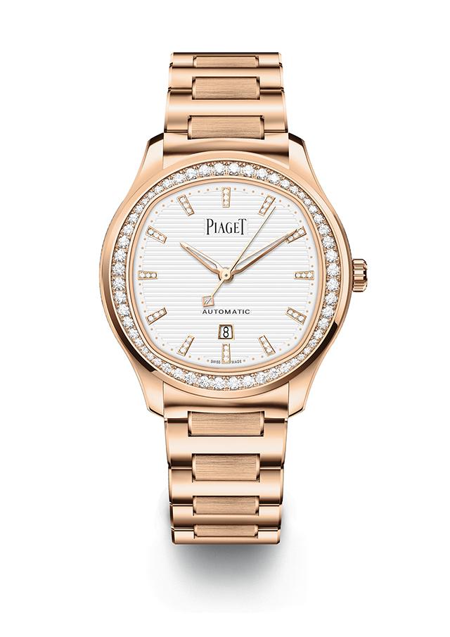 「ピアジェ ポロ デイト」(36mm径、ピンクゴールド×ダイヤモンド[計約1.05ct]、自動巻き、パワーリザーブ40時間、サファイアケースバック)¥6,160,000
