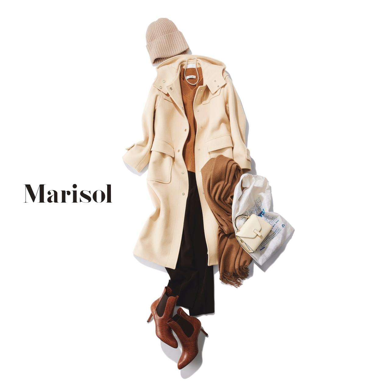40代ファッション ニット帽×白コート×ニット×パンツコーデ