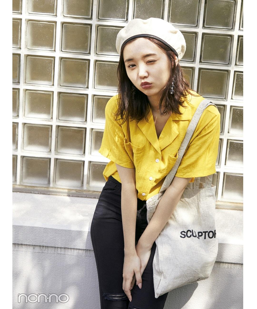 【夏のシャツコーデ】江野沢愛美の韓国MIXコーデはメンズライク