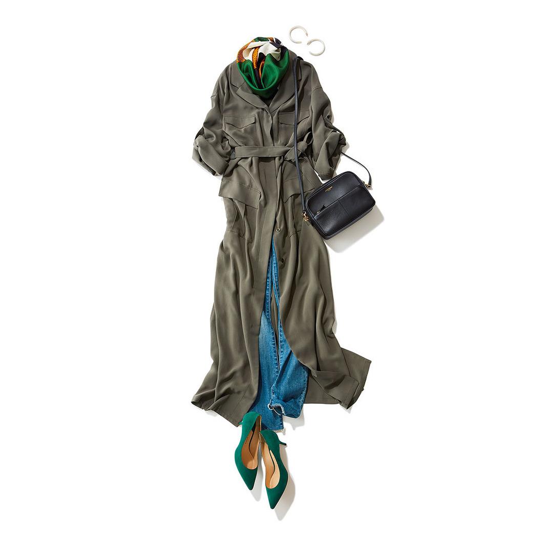 カーキワンピース×デニムのファッションコーデ