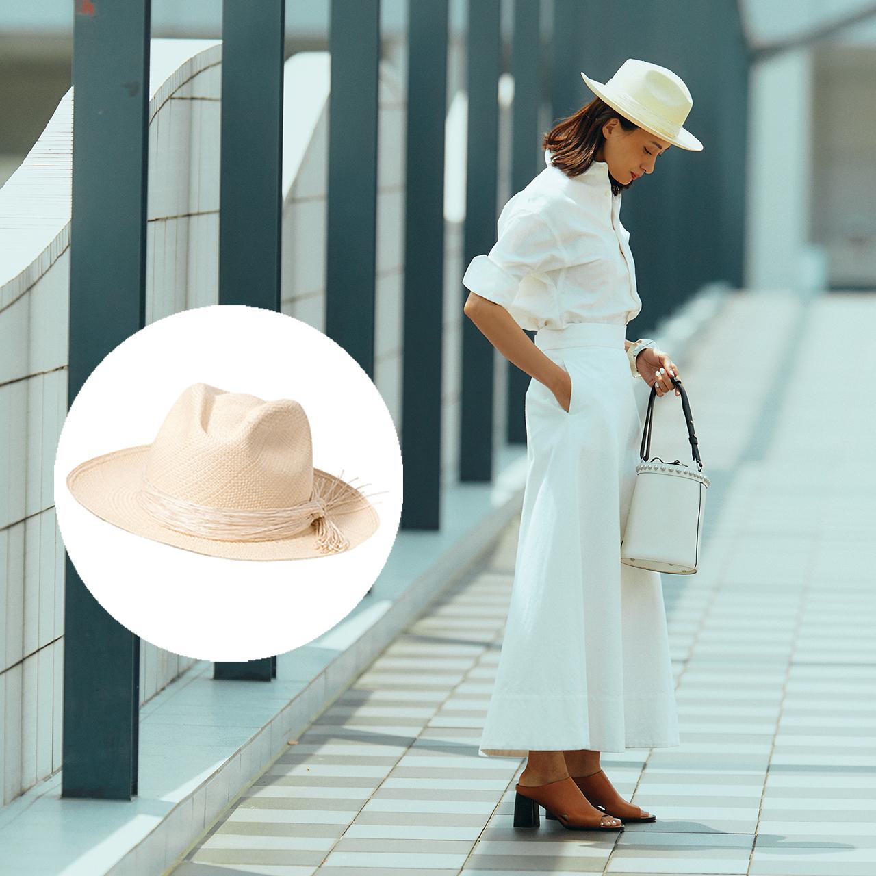 帽子×シャツ×スカートコーデ