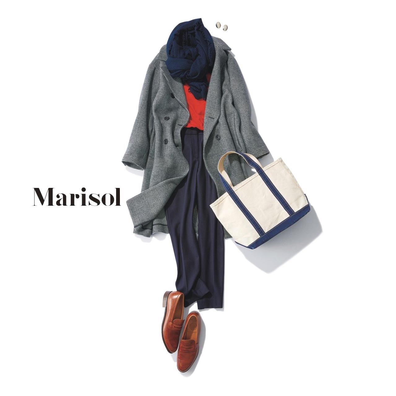 40代ファッション グレーチェック柄コート×黒パンツコーデ