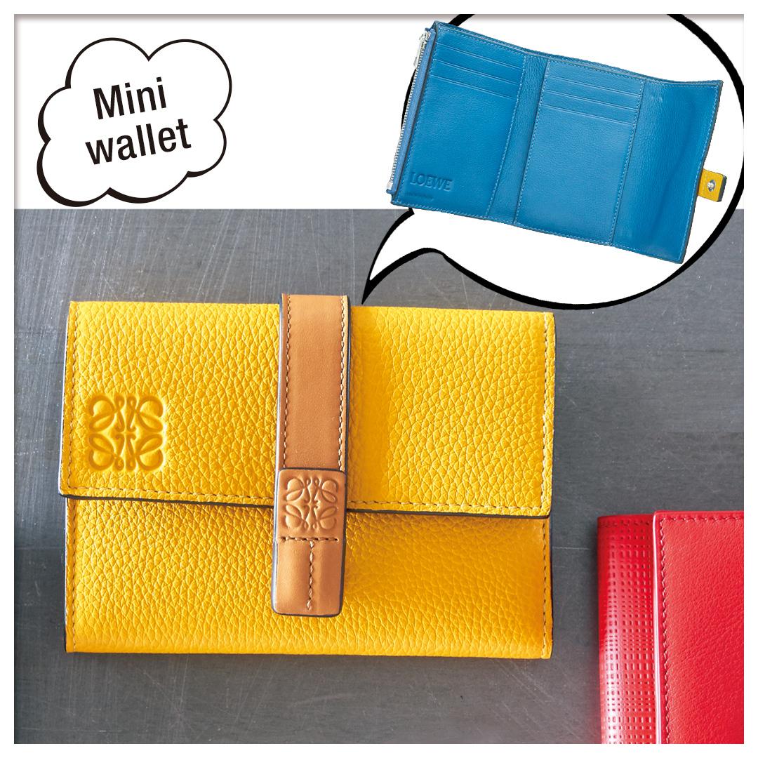 スモール バーティカル ウォレット イエローマンゴ-/ハニー|ロエベミニ財布