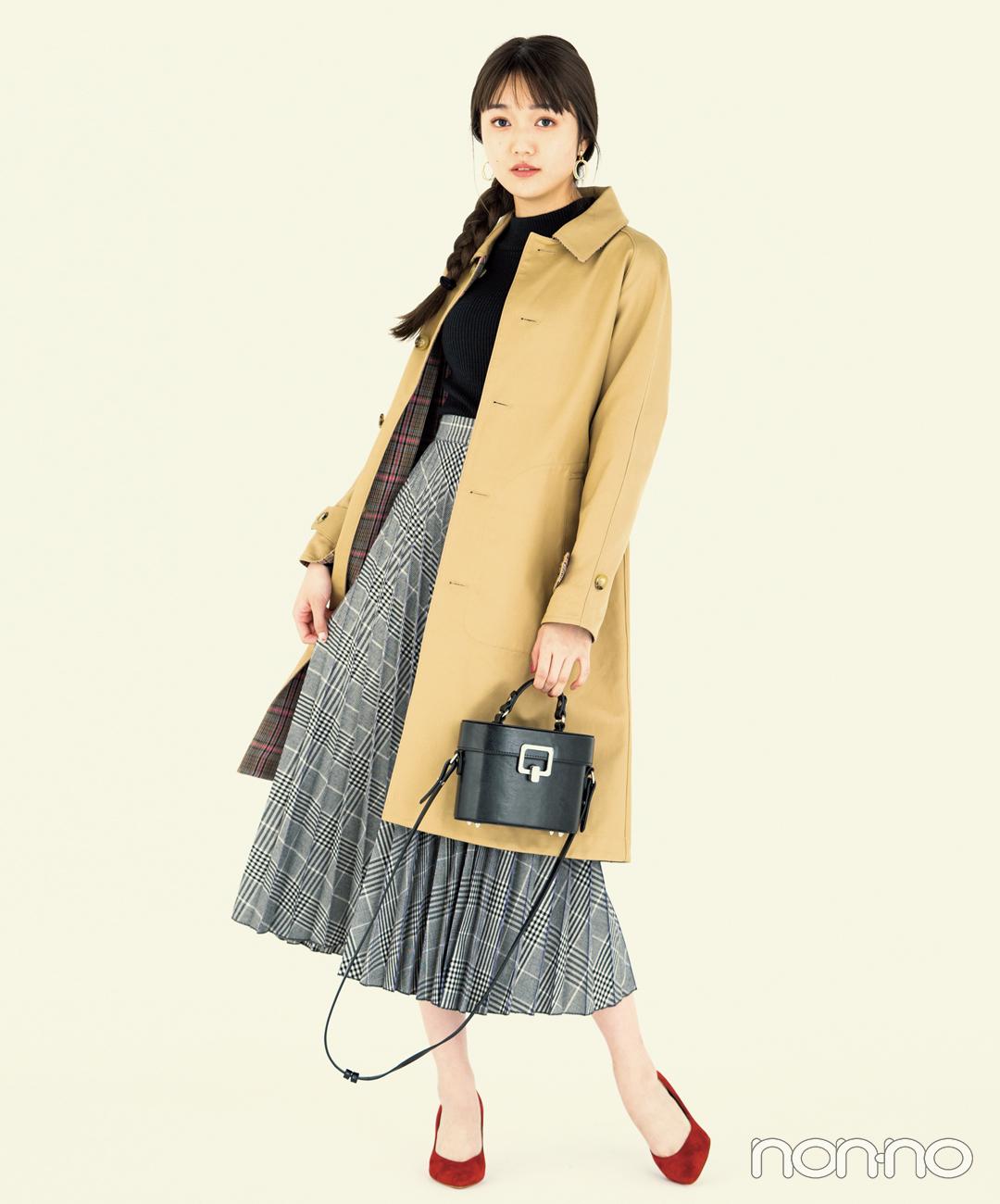【プリーツスカート4】グレンチェックのプリーツスカート×赤小物