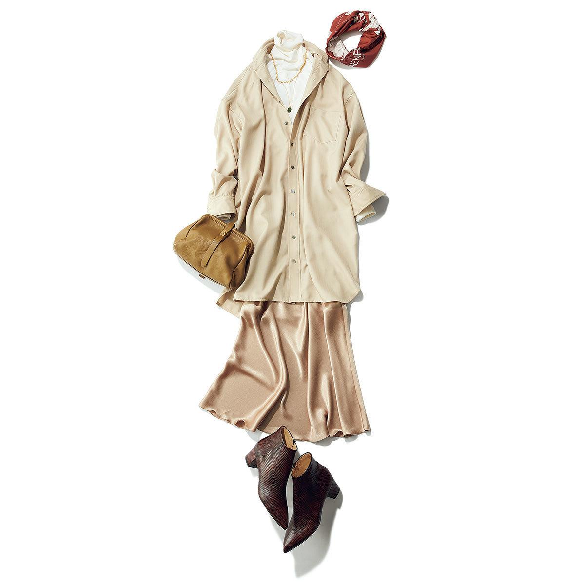 ■白タートルニット×シャツ×ツヤありナローシルエットスカートコーデ