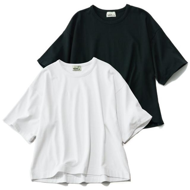 NEPLA. ワイドTシャツ(左から)ブラック、ホワイト