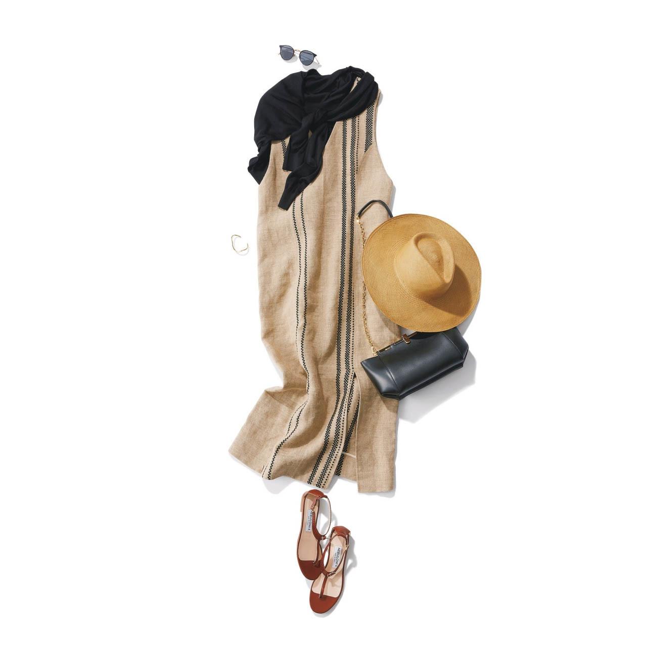 ■帽子×肩がけカーディガン×リネンのロングワンピースコーデ
