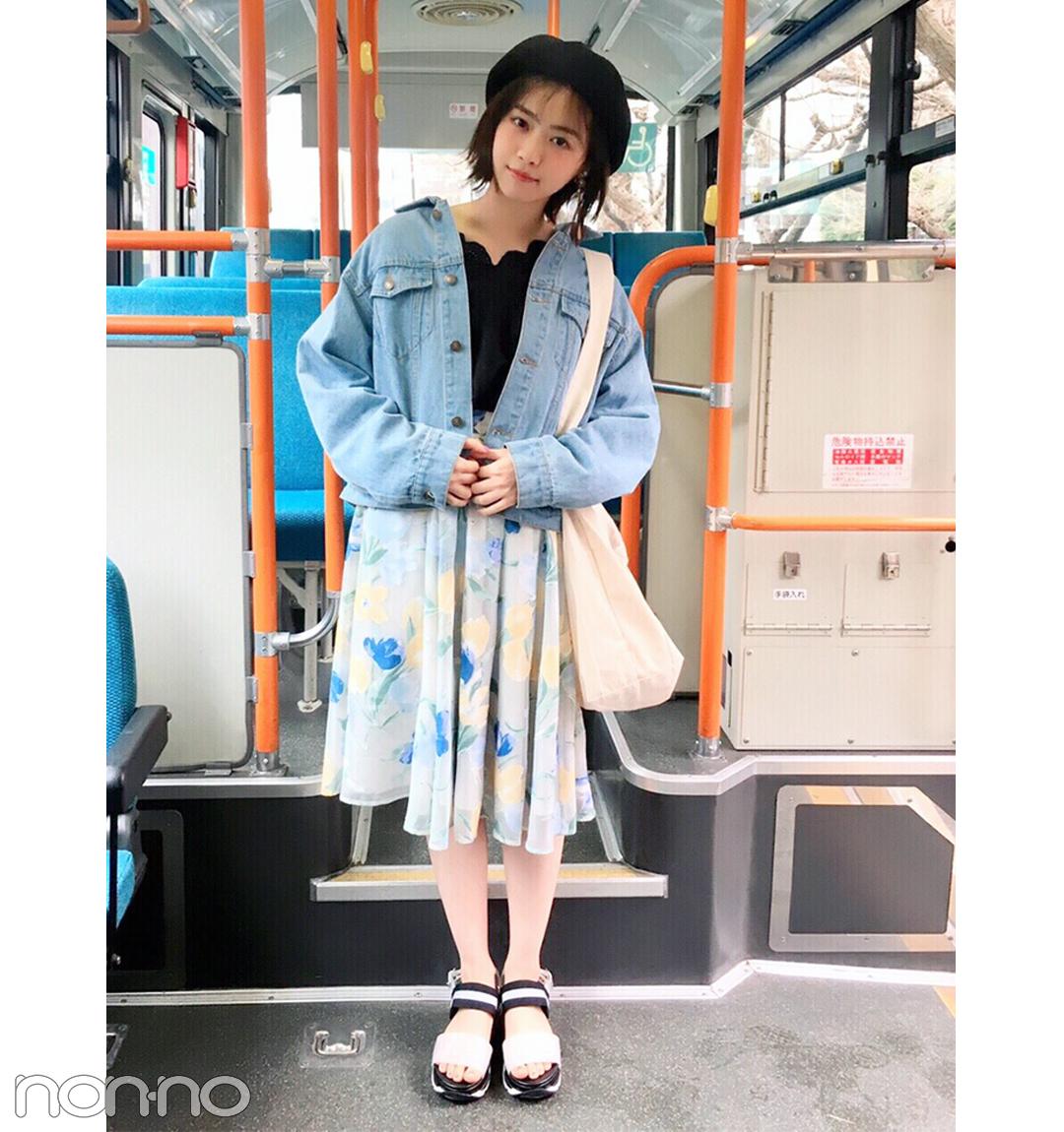 西野七瀬は花柄スカートを水色Gジャンでカジュアルに着くずし【毎日コーデ】_1_1