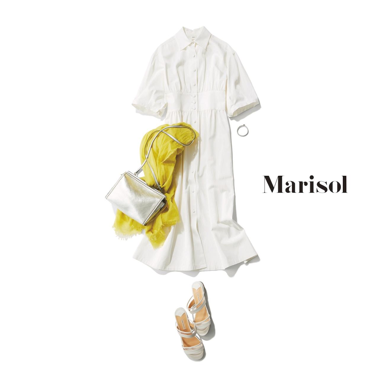 40代ファッション 白ワンピースコーデ