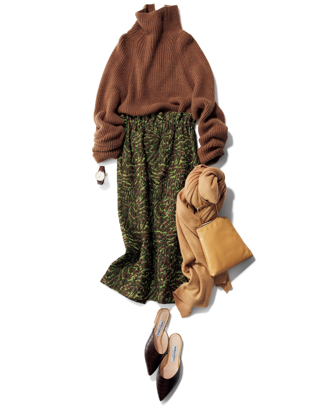 キャバンのジャカード織りのスカートコーデ
