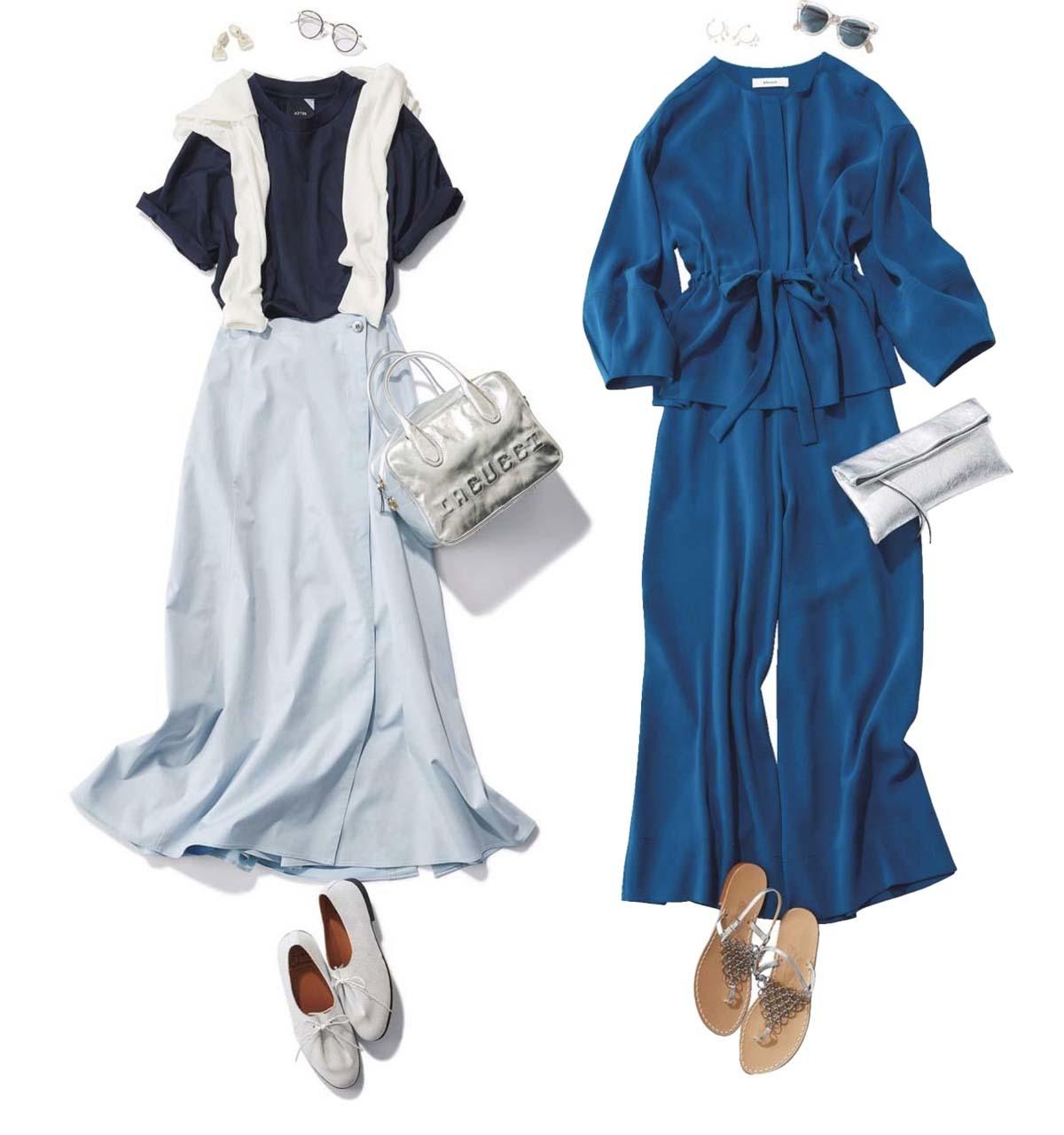 甘すぎず40代にちょうどいいかわいいがかなうブルーコーデのまとめ 40代ファッション
