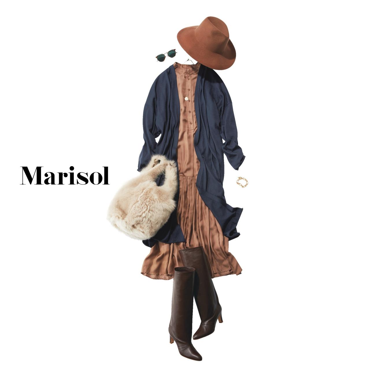 40代ファッション 帽子×ロングカーディガン×ワンピースコーデ