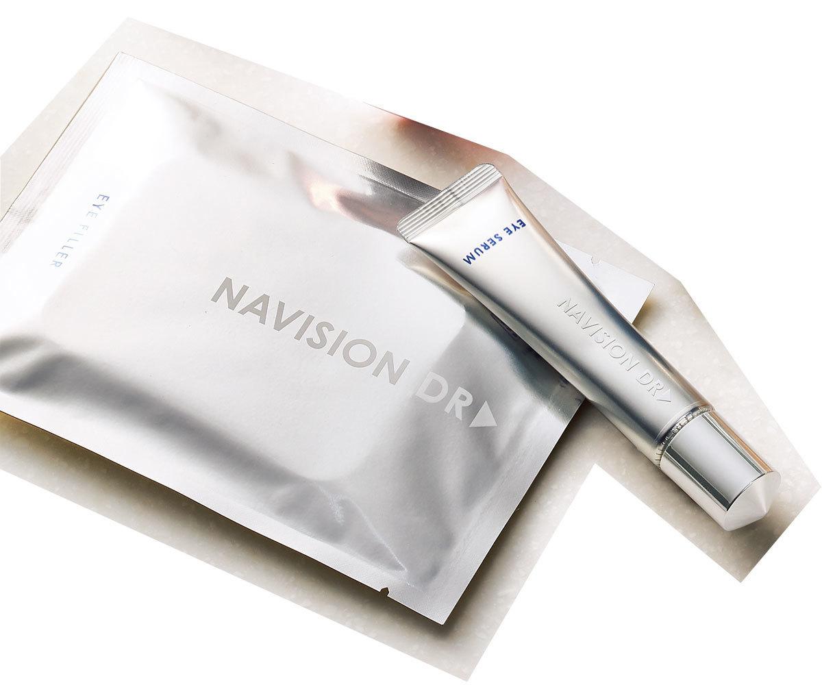 針状ヒアルロン酸のアイシートは寝ている間に保湿ケア。アイ美容液でくすみや小ジワケアも。ナビジョンDR フォーカスアイプログラム(アイセラム15g・アイフィラー2 枚× 8 包入)¥20,000(編集部調べ)/資生堂