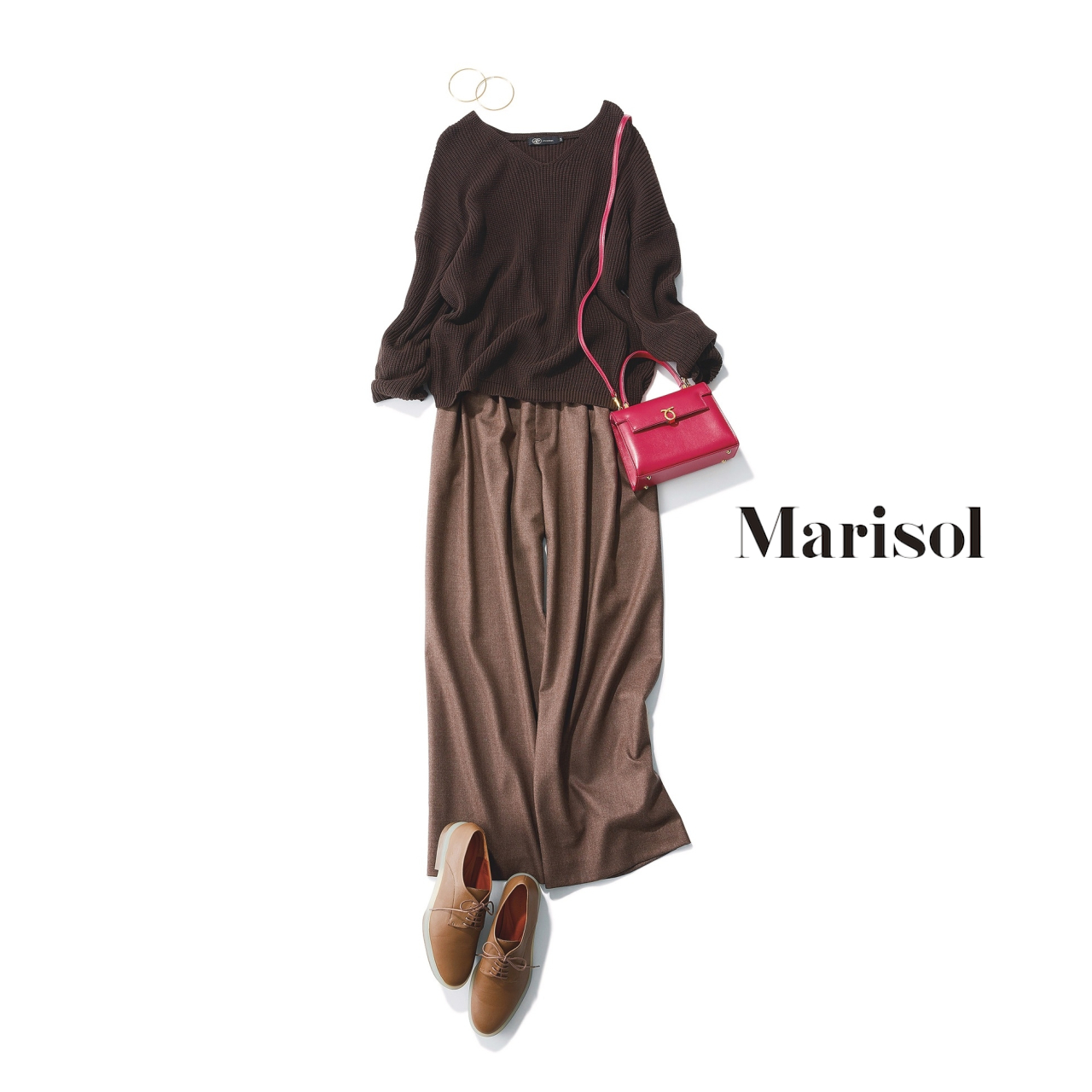 40代ファッション ブラウンニット×ブラウンパンツコーデ