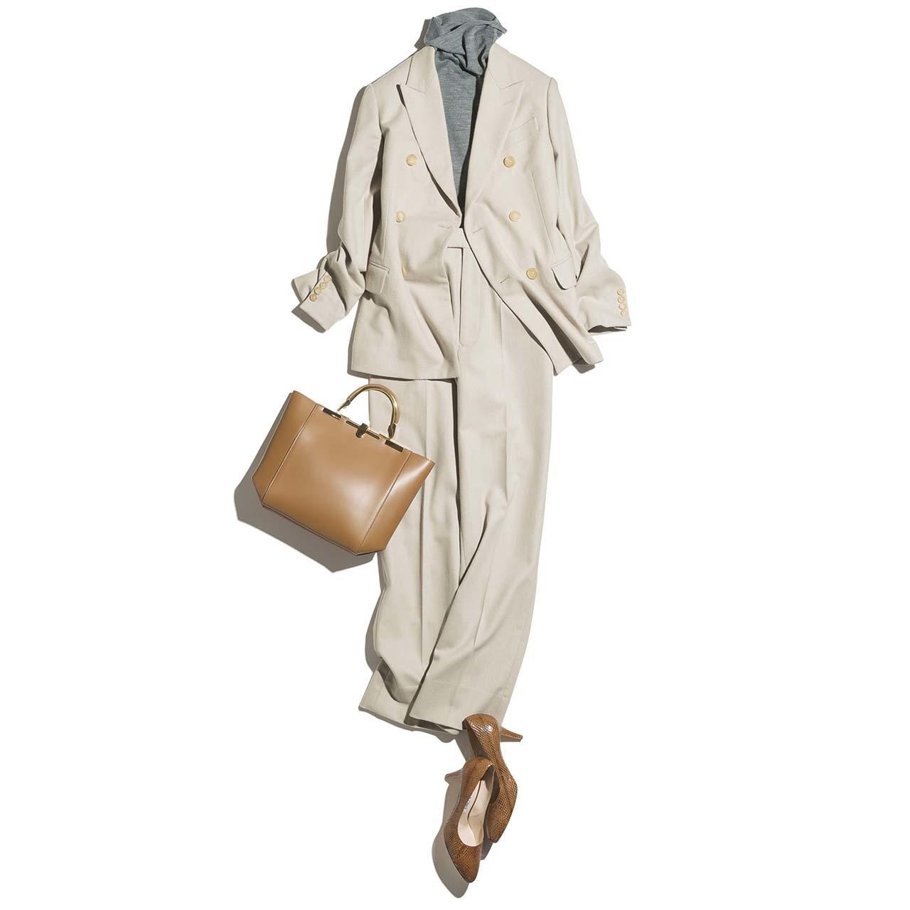 ベージュジャケット×ベージュパンツのファッションコーデ
