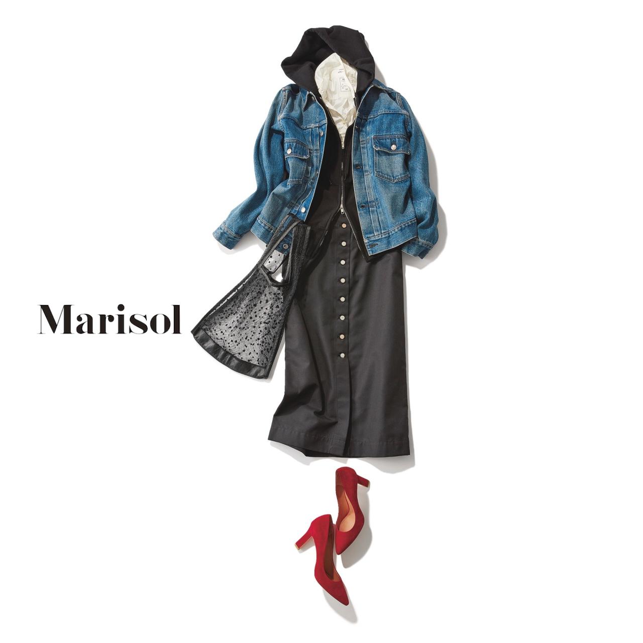 40代ファッション デニムジャケット×ブラックタイトスカート コーデ