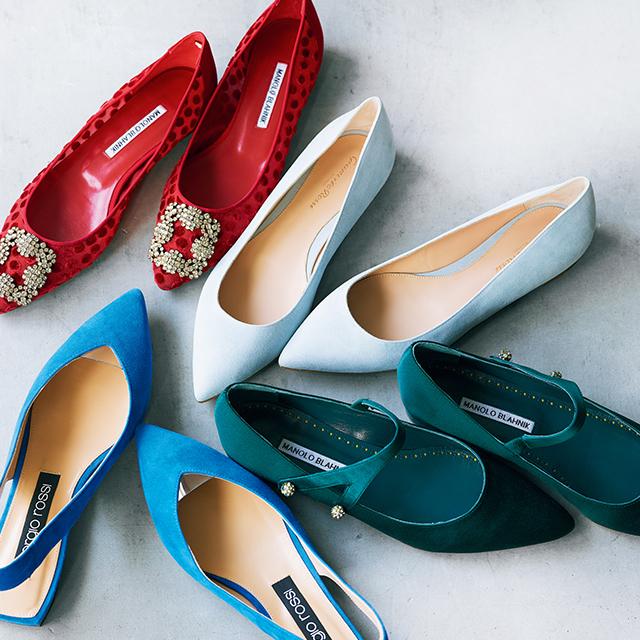 きれい色フラット靴
