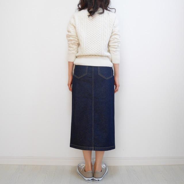 【GU新作】絶対買い!デニムフロントスリットミディスカート_1_7-3