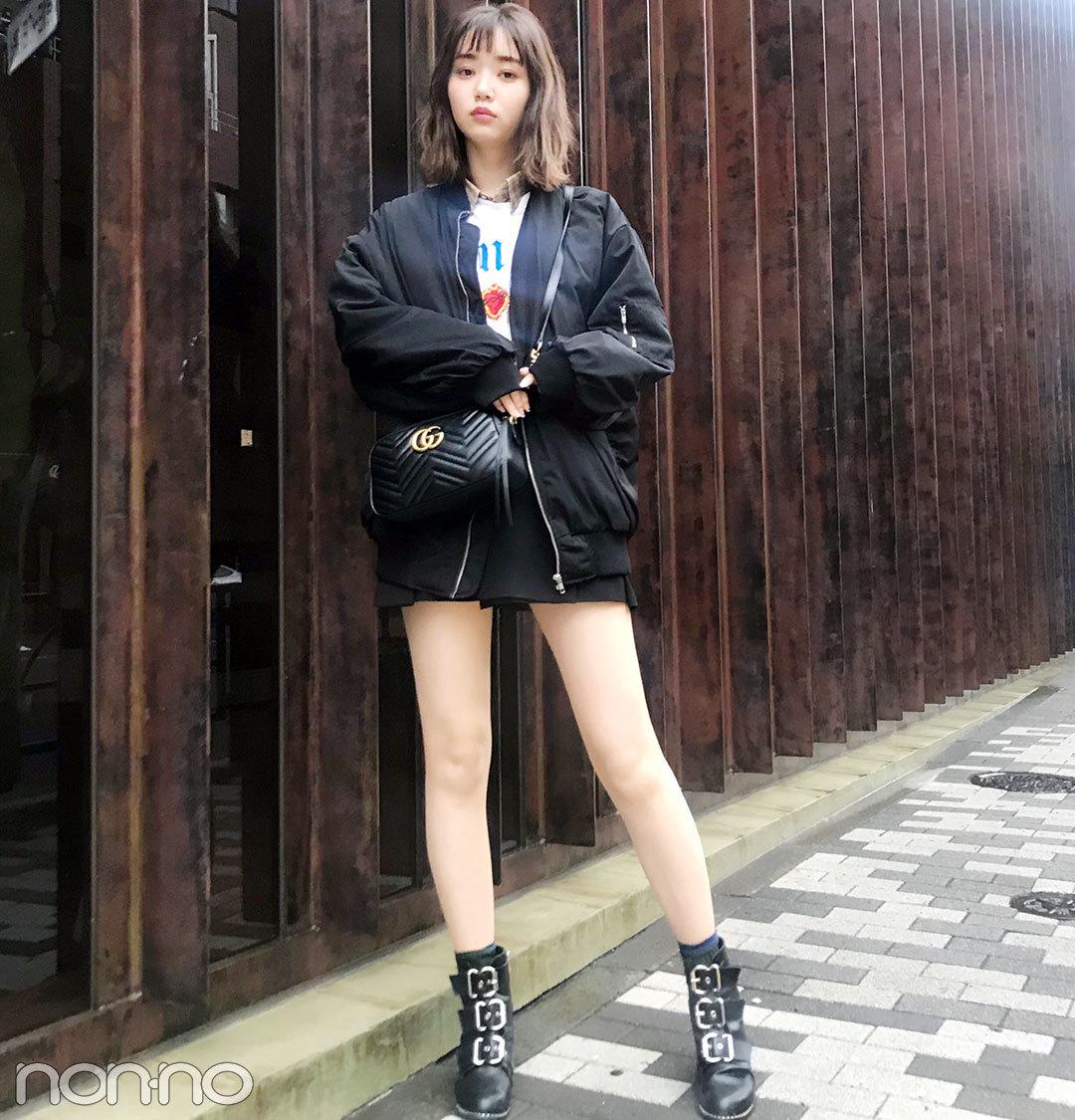 本日の江野沢愛美は韓国のメンズ風コーデ。美脚生かしのミニ+ブーツがクール!【モデルの私服スナップ】_1_1
