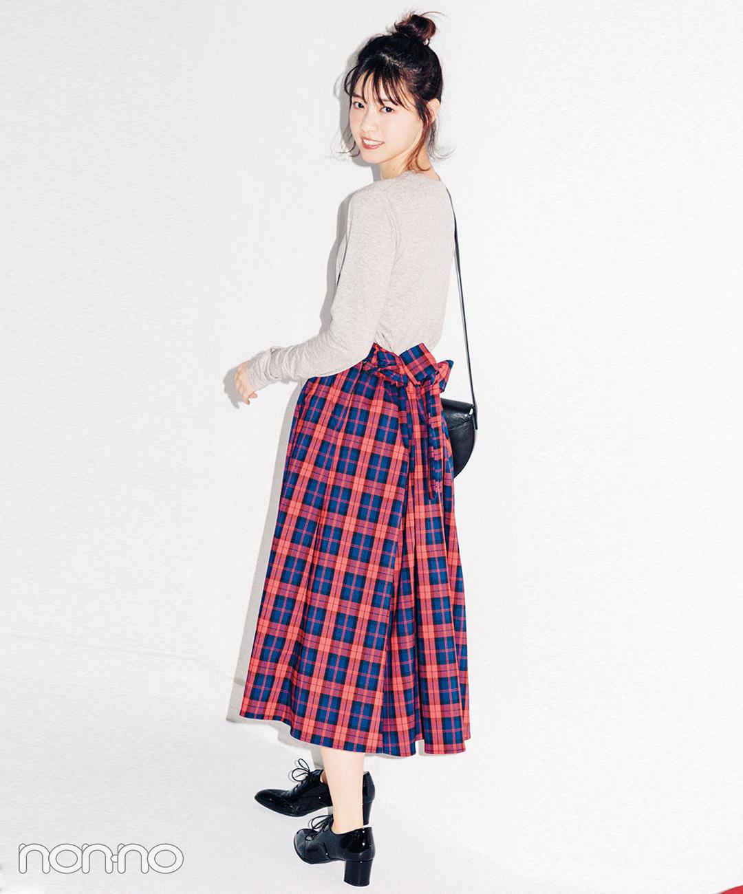 【タータンチェックコーデ】トラッドなチェックのスカートで後ろ姿も可愛く♡