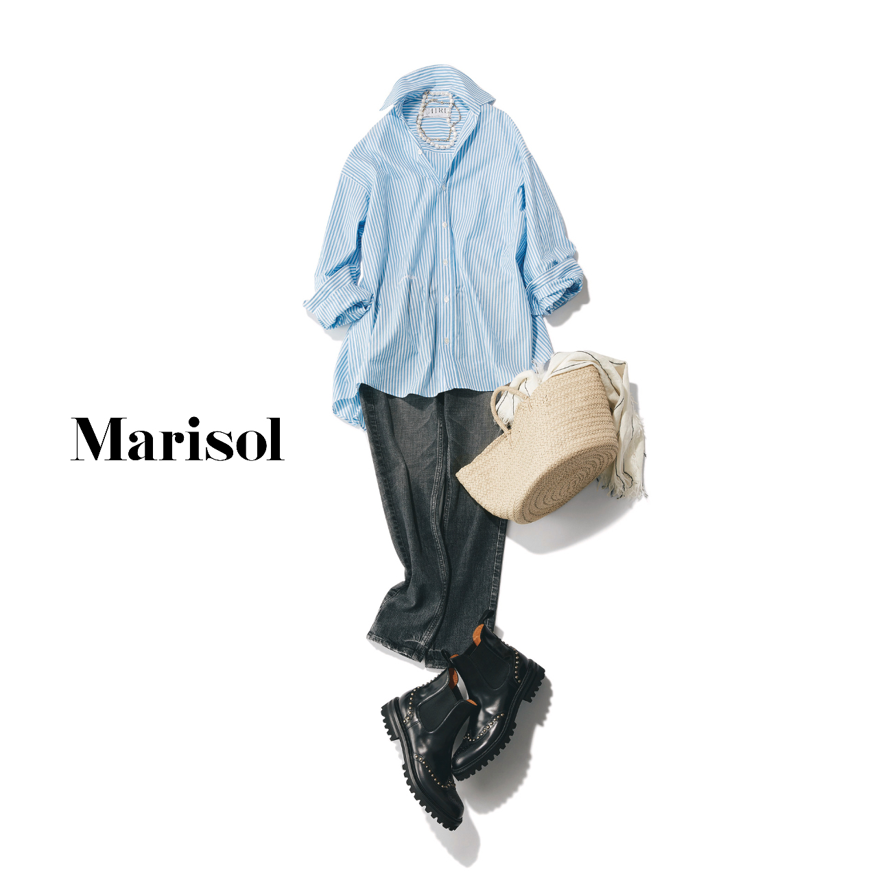 40代ファッション  シャツ×パンツ×サイドゴアブーツコーデ