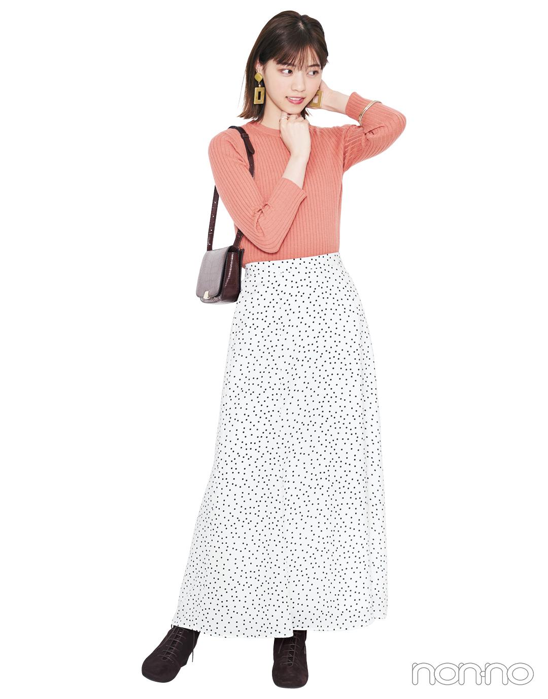 柄スカート、この秋はスリムフレアを選ぶとちょうどよく大人っぽい!_1_3-5