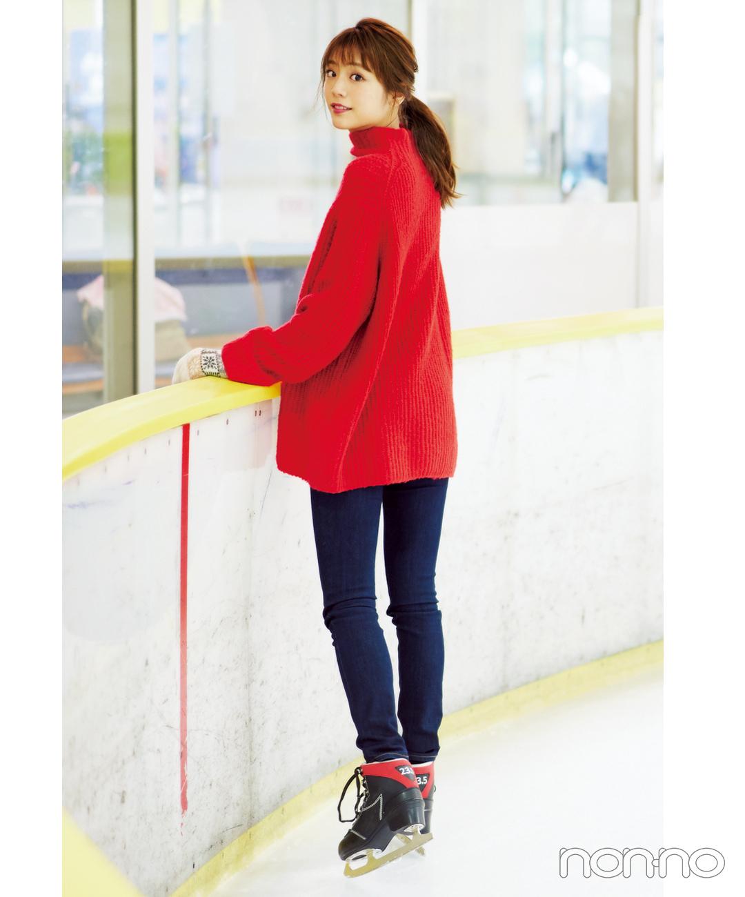 【ハイネックニットコーデ】ざっくり赤ニットとスキニーでメリハリ出しつつ氷上映え♡