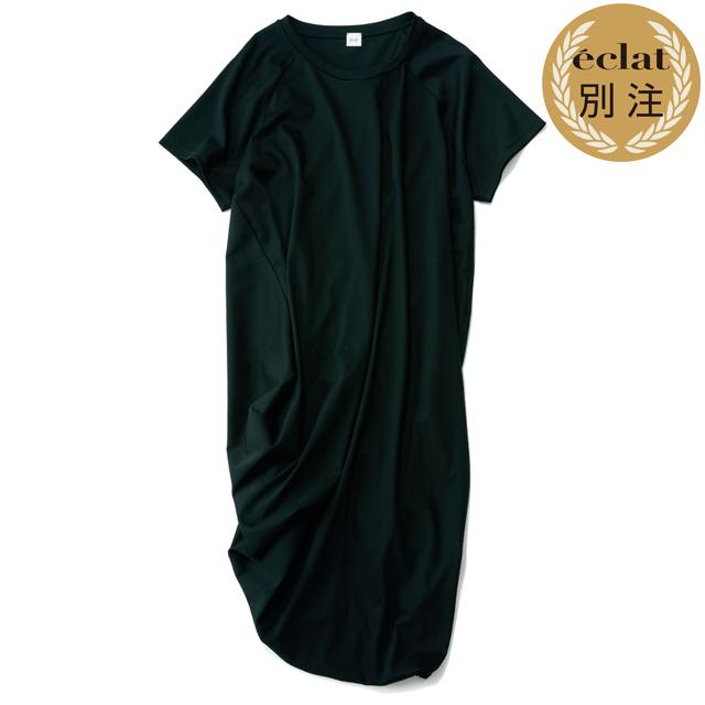 ELIN×éclat ギャザーTシャツ(ブラック)