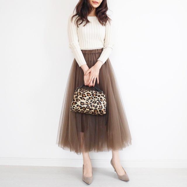 大人の可愛いは作れる♡ブラウンのチュールスカートに挑戦!_1_1