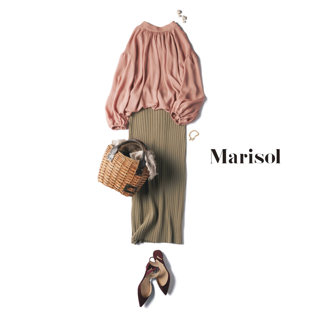 ファッション フェミニンピンクトップス×ワイドリブタイトスカートコーデ