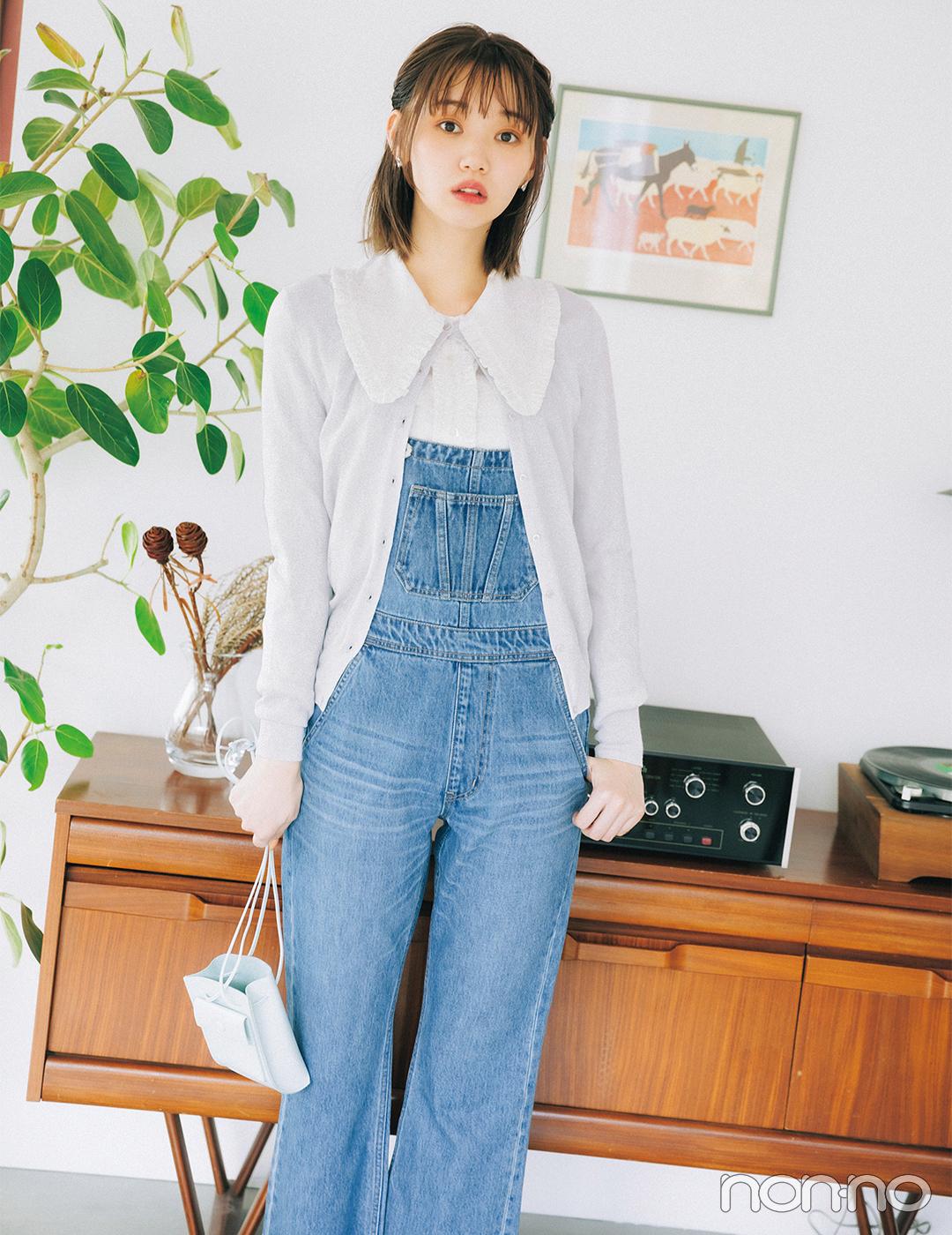 トレンド大本命のビッグ衿+デニムサロペットで韓国風ガーリー【毎日コーデ】